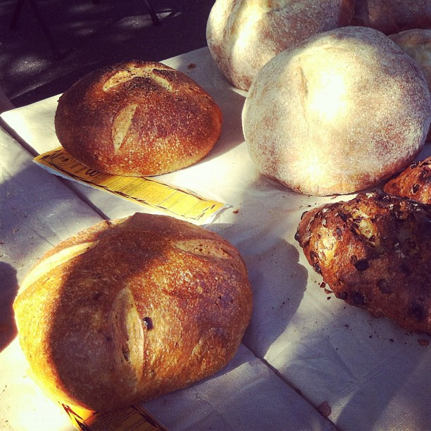 Artisan bread basking in thR sun. #farmersmarket