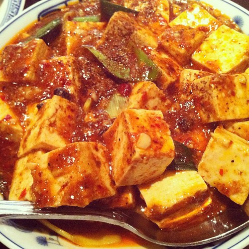 Bomb Mapo Tofu from @cafechina_nyc. Peppercorns sear your mouth off hot. #chinese #food #ethnicfood #nyc #instafood