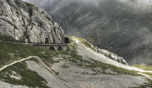 railroad fog schweiz switzerland rocks track luzern pilatus lucerne