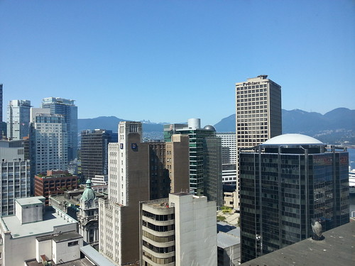 View over Vancouver from hotel room