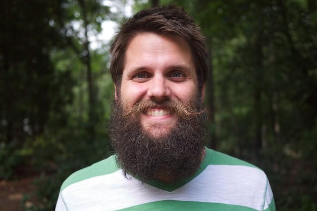 With a beard