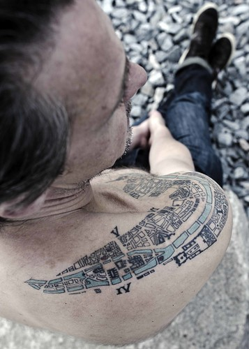 Tattoo of City Map of Paris from 1910
