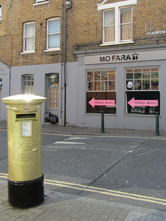 Gold Post Box at Teddington for Mo Farah