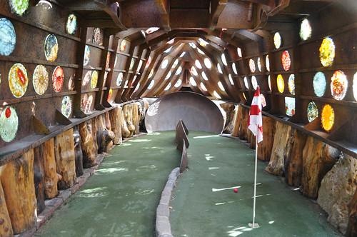 Mini Golf Hole Inside Giant Metal Sculpure