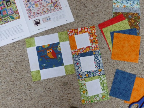Just starting to play with the new pack of squares ('Ten Little Things' by Moda) and looking to my favourite Liberated Quiltmaking II by Gwen Marston for inspiration.