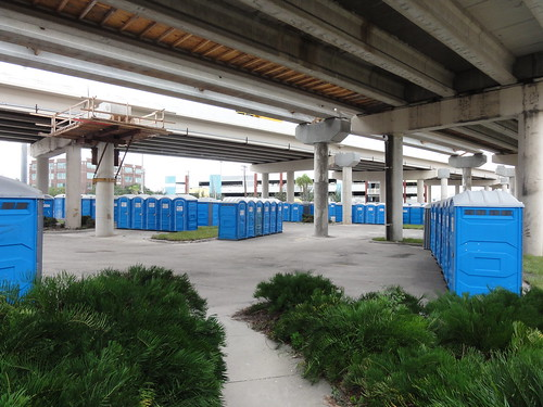 A huge number of portable toilets have been assembled