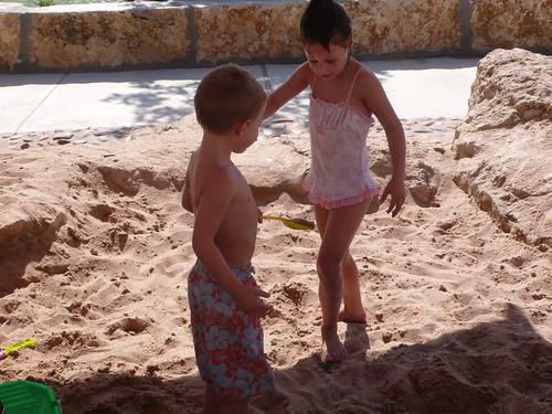 Sprinkler park sand pit!