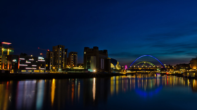 Newcastle/Gateshead Quayside at night.