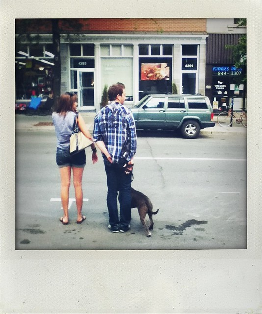 couple with dog (a walk in Montreal)