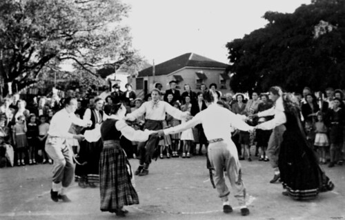 Latvian folk group dancing, Brisbane, 1953