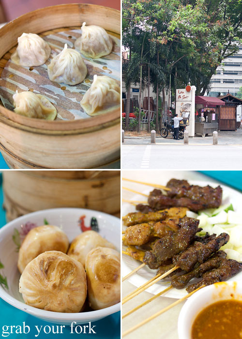 xiao long bao soup dumplings and satay at lau pa sat festival market hawker market singapore