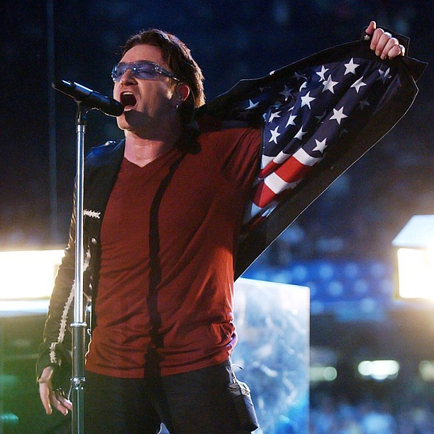 "#Bono paid tribute to the victims of 9/11 during #U2's 2002 Superbowl halftime performance. Head to RollingStone.com for our original 9/11 coverage including David Foster Wallace's piece ""The View From the Midwest."" Photo: Kevin Mazur/WireImage #911"
