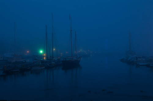 water fog night boats harbor camden maine
