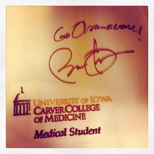 """Go #Obamacare!"" signed, @BarackObama. Yup, that happened. #MedStudentsForObama"