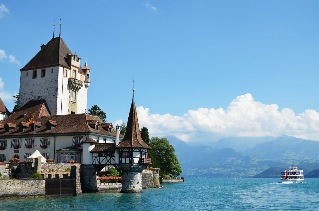 Oberhofen Castle on the shore of Lake Thun