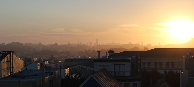 Hazy Sunrise over San Francisco Skyline