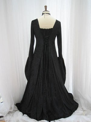 Black velvet red taffeta medieval gothic dress 3729
