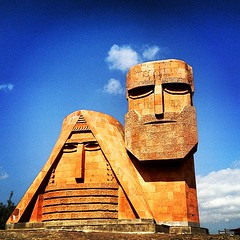 Mother and Father of Nagorno-Karabakh (Artsakh). We are Our Mountains monument.
