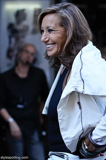 Donna Karan backstage at her DKNY show