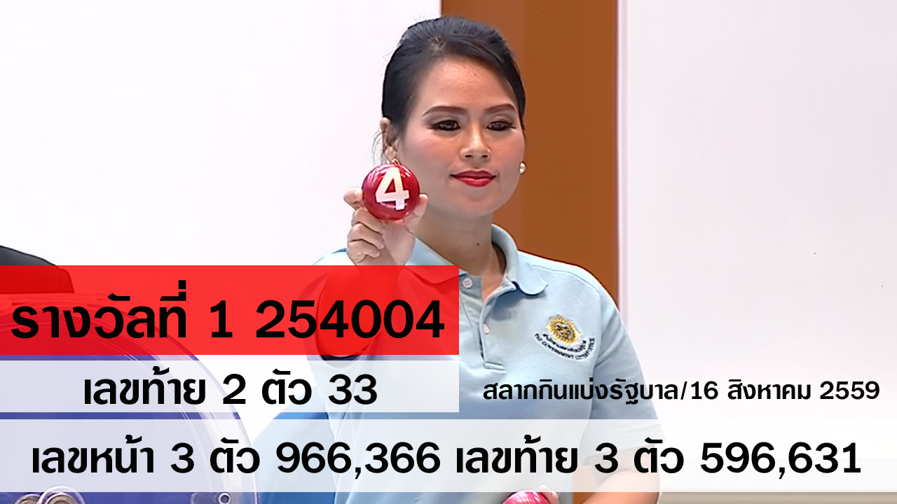 ผลสลากกินแบ่งรัฐบาล ตรวจหวย 16 สิงหาคม 2559 [ Full ] Lotterythai HD