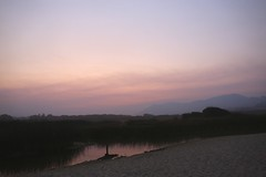 Beginning of a pink sunrise on the Carmel River Lagoon