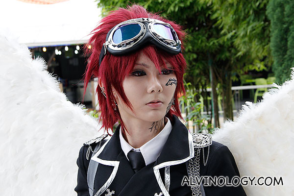 Close-up of this winged cosplayer
