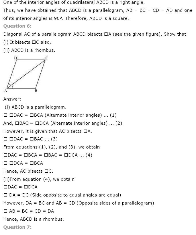 NCERT Solution for class 9th: Chapter 8 Quadrilaterals