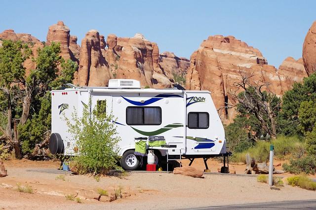 Zoom travel trailer (by Dutchmen), Devils Garden Campground, Arches National Park, Utah, September 27, 2011