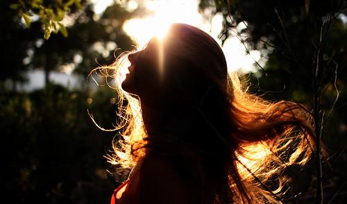無料写真素材, 人物, 女性, シルエット, 人物  横顔・横を向く, 髪がなびく