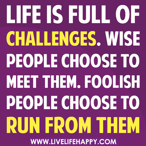 Quotes On Life And Challenges: Life Is Full Of Challenges. Wise People Choose To Meet