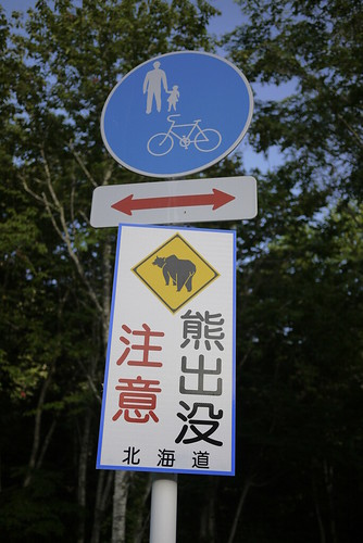 Bear warning on the Sounkyo to Asahikawa Cyclepath (near Sounkyo, Hokkaido, Japan)