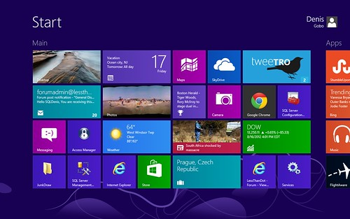 Windows 8 start screen visible part