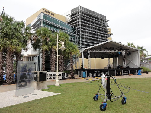 Stage being set up outside the Tampa Bay History Museum