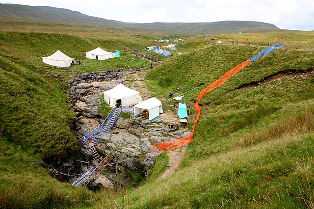 A campsite above Gaping Gill on the mountain ingleborough in the Yorkshire Dales