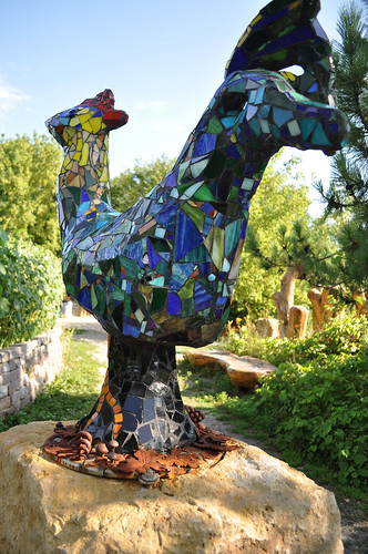 Giant Stained Glass Rooster at Big Stone Mini Golf