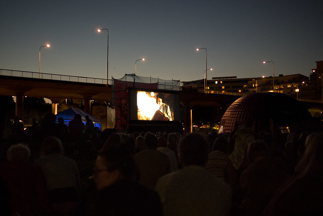 Outdoor cinema in Rålis