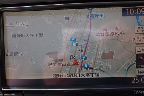 嬉野温泉付近のEV充電設備(日産リーフのナビ画面)
