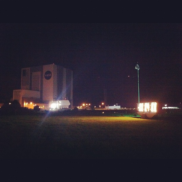 VAB & NASA Countdown Clock at night with exclusive VIP ...