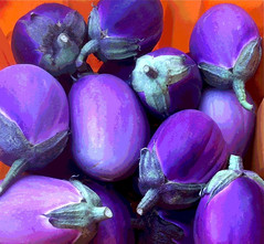 Purple Eggplant Orange Bin (Posterized) by randubnick