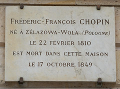 Photo of Frédéric François Chopin marble plaque