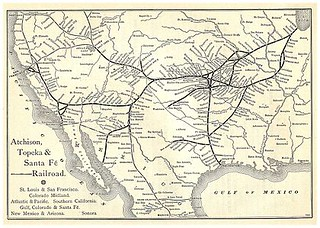 Santa Fe train route in 1887
