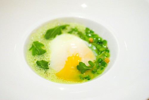Poached Farmed Egg peas, kalamansi, arugula
