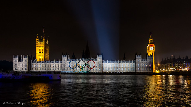 Olympic light show on the houses of Parliament - 2 - logo.