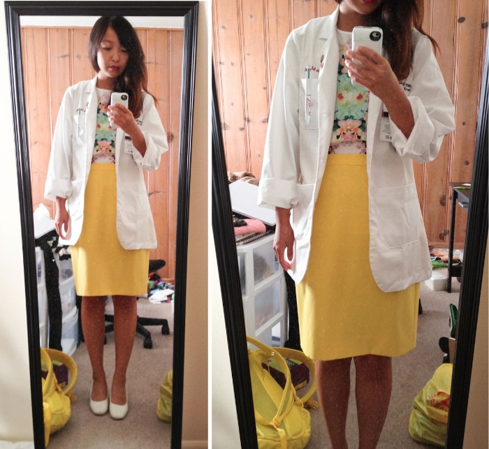 yellow floral white coat