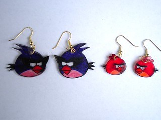 Angry Bird Shrinky Dink Earrings