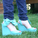 Penny Loves Kenny blue bow wedges from Zappos