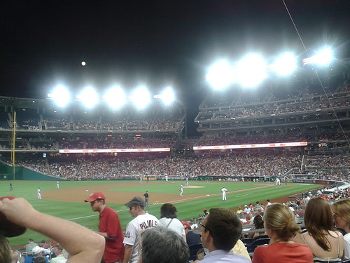 Full moon over 1st base stands, Nationals Park