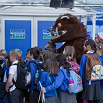 The Gruffalo greets some school childre | The young pupils on RBS Schools Gala Day meet the Gruffalo
