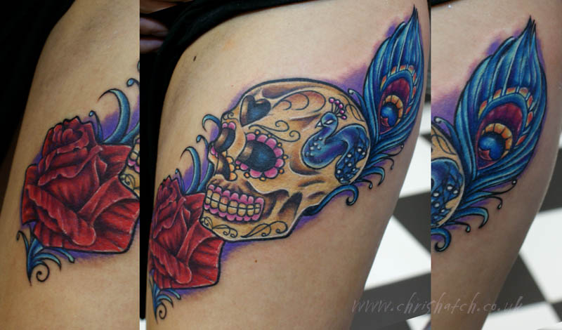 Rose Sugar Skull And Peacock Feather Tattoo Chris Hatch T Flickr