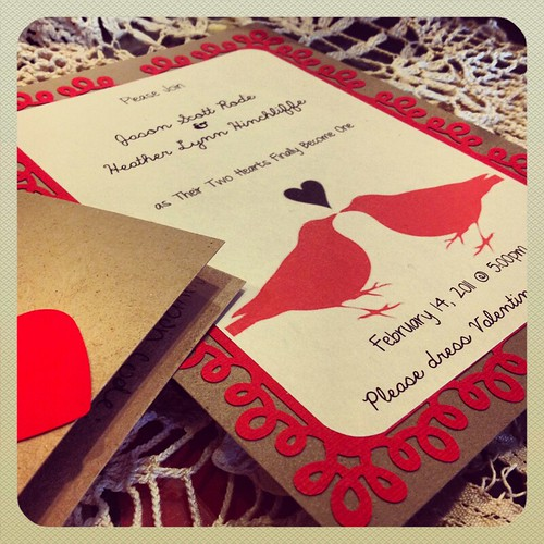 valentines day wedding invitation by Heather Says